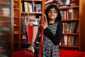 Shrinidhi, 11 ans, gagnante de l'édition 2013 de Child Genius UK Source: mensa.co.uk
